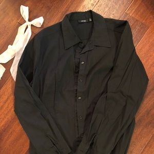 Women's XL black button up